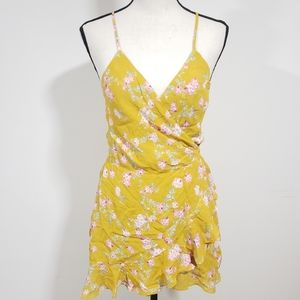 Blue life Lush Garden yellow Ari wrap dress